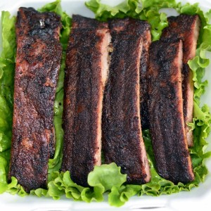 bbq rib turn in box with burnt glaze or creosote