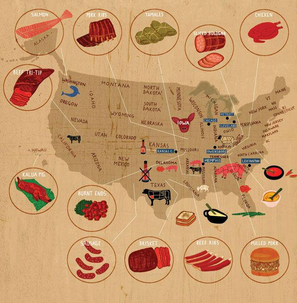 BBQ Map  - Regional US BBQ Tastes