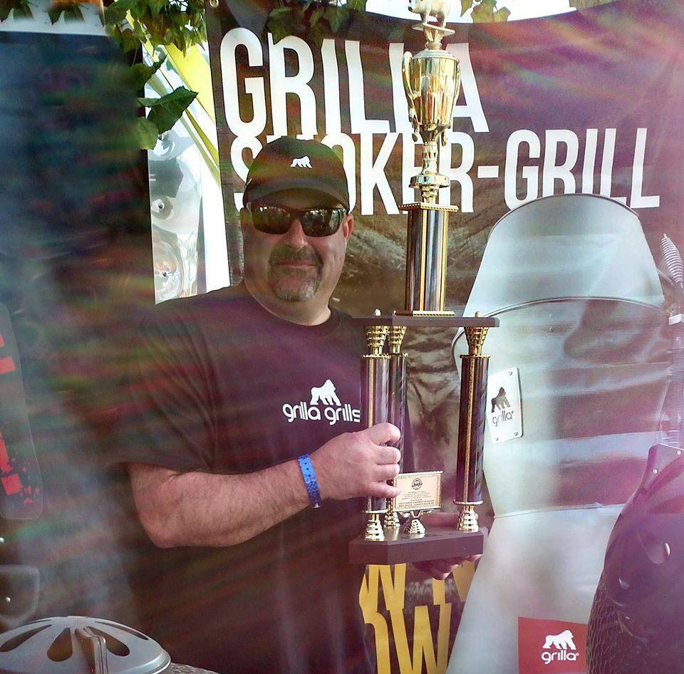 Grilla Grills Owner Dave with the 2nd Place Tomato-based Sauce Trophy